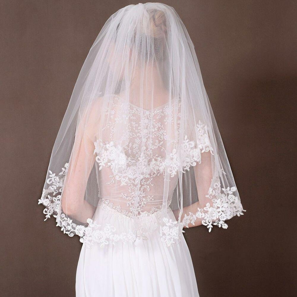 Beautiful 2 Layer White/Ivory Elbow Lace Edge Wedding