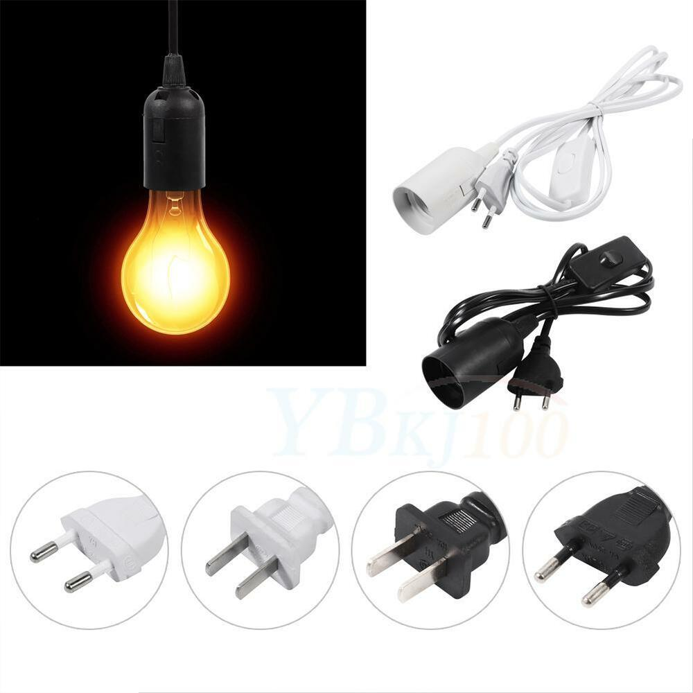 E27 Type Plug In Hanging Pendant Light Fixture Lamp Bulb Socket Cord With Switch Ebay