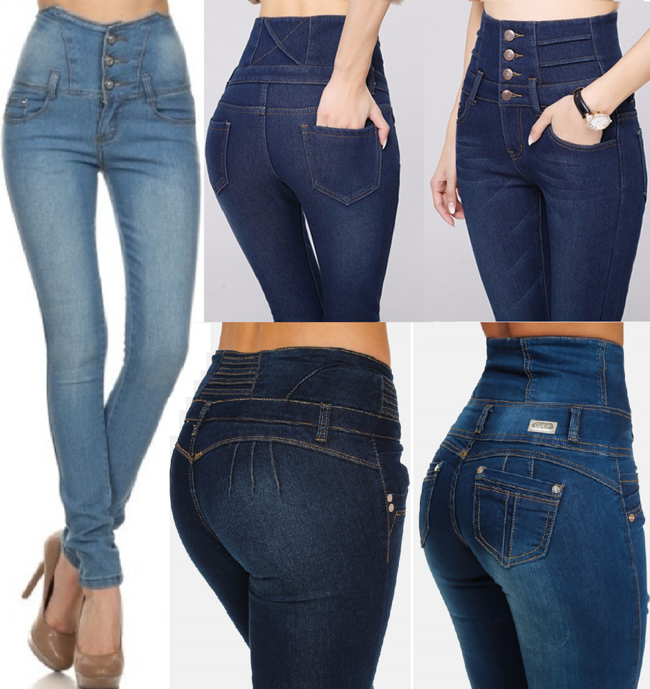 NEW WOMENS SUPER HIGH WAISTED JEANS RIPPED SKINNY JEGGINGS ...
