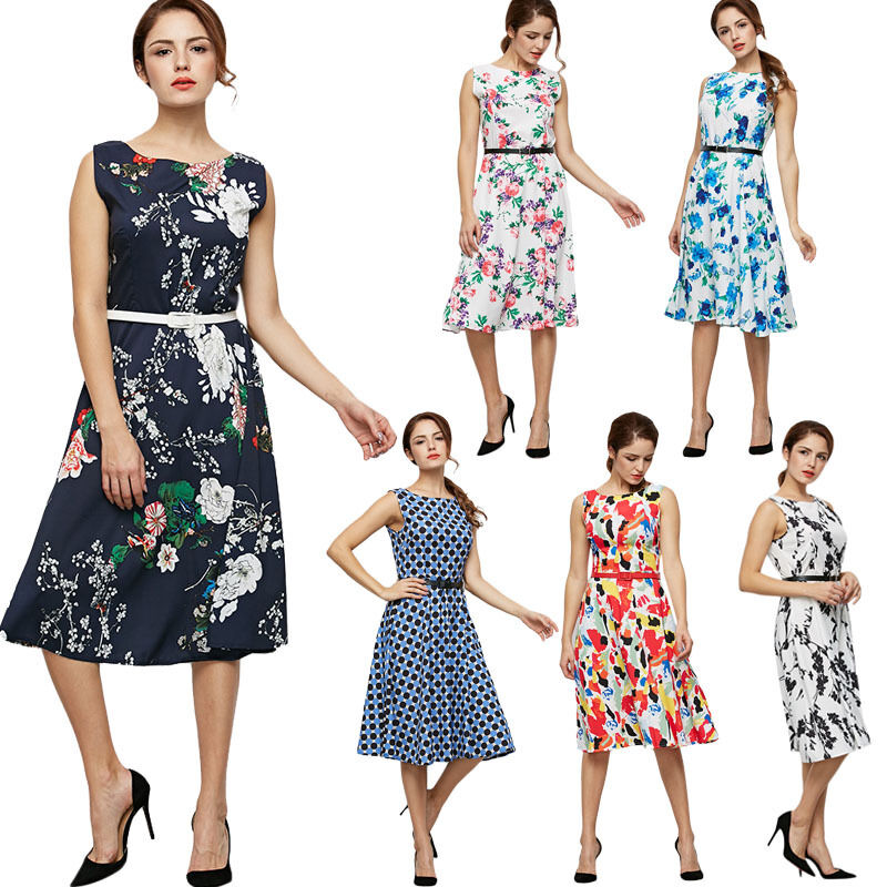 s 1950s 60s vintage floral style rockabilly cocktail