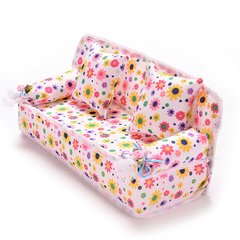 mini m bel sofa couch 2 kissen f r barbie puppe haus zubeh r beauty rw ebay. Black Bedroom Furniture Sets. Home Design Ideas