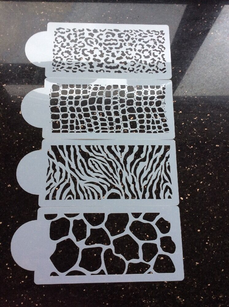 Cake Decorating Stencils Uk : Large 4piece Animal Print Stencils Set For Cake Decorating ...