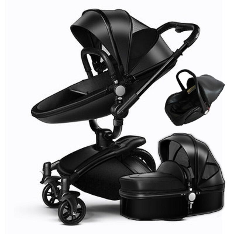 Baby Stroller 3 In 1 Travel System Bassinet Folding Combo Pu