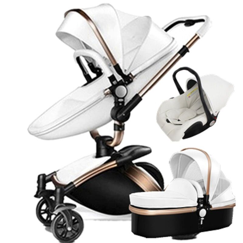 baby stroller 3 in 1 high view 360 rotation bassinet folding pushchair car seat ebay. Black Bedroom Furniture Sets. Home Design Ideas