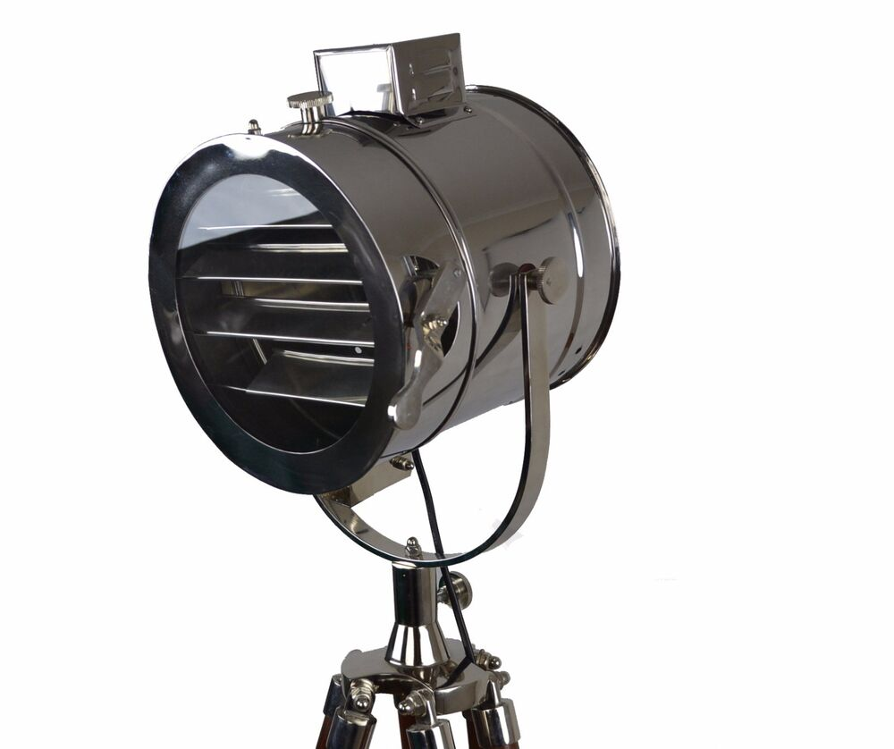 Tripod floor lamp nautical floor lamp searchlight spotlight retro industrial ebay - Tripod spotlight lamp ...