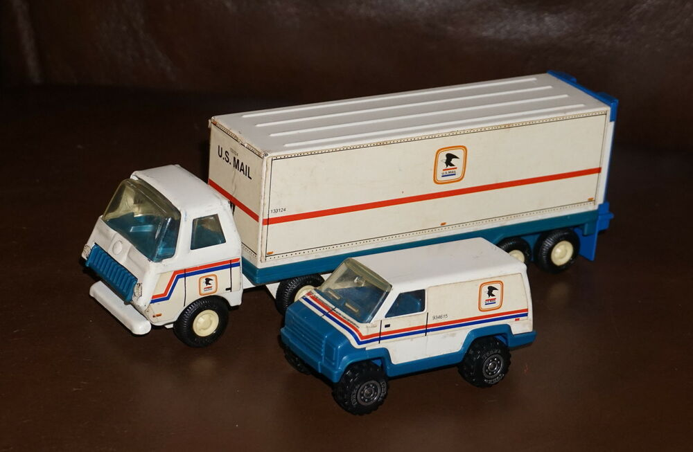 Toy Tractor Trailer Trucks : Vintage tonka post office semi tractor trailer delivery