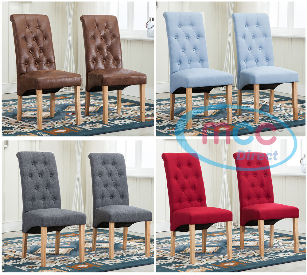 Dining Room Chairs Fabric: Lined Fabric Dining Chairs Roll Top Scroll High Back Home