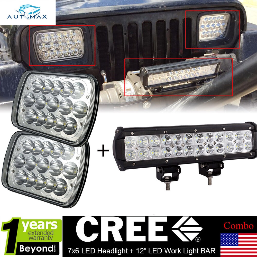 "Cherokee Led Uplight Gooseneck Light: CREE 7x6 LED Headlights+12"" LED Driving Light Bar For Jeep"