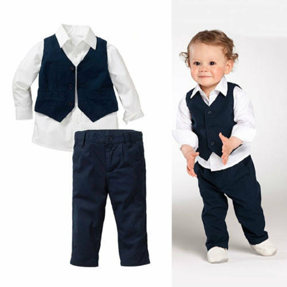 be87a6148 Details about Baby Kids Boy Wedding Party Formal Shirt+Waistcoat+Pants Suit  Outfits Set 1-5