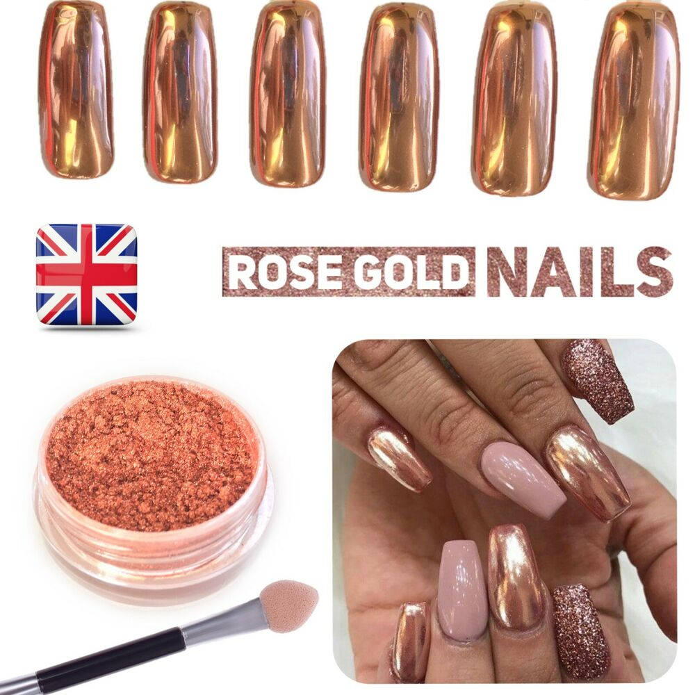 Chrome Nail Powder Cnd: New ROSE GOLD NAILS POWDER Mirror Chrome Effect Pigment