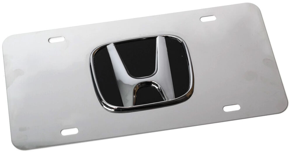 chrome honda emblem logo front license plate frame mirror. Black Bedroom Furniture Sets. Home Design Ideas