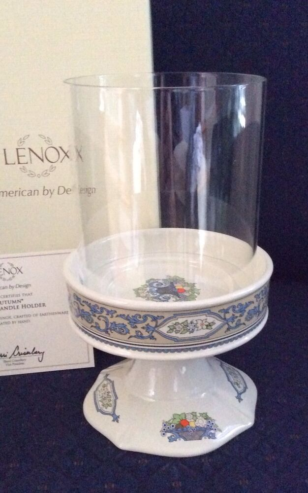 Lenox china autumn pillar candle holder new in box perfect