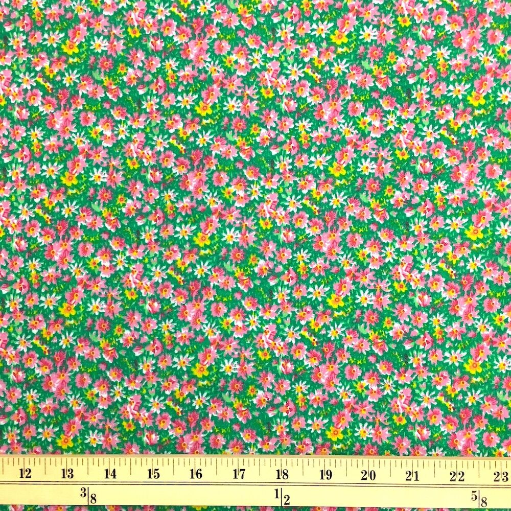 Ixia Green Print Fabric Cotton Polyester Broadcloth By The