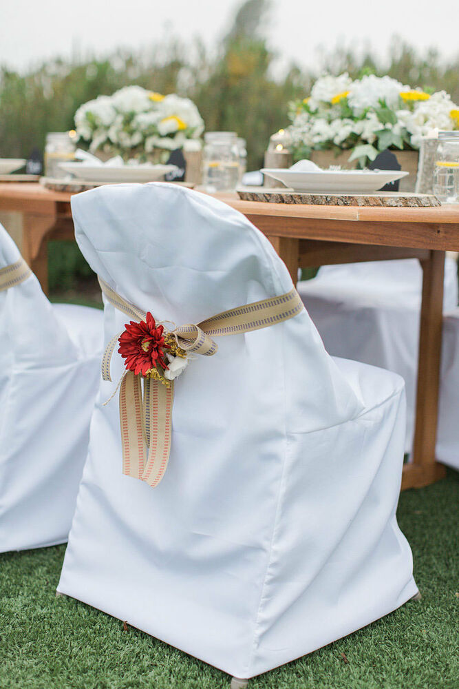 Folding Polyester Chair Covers Wedding Party Shower Or Banquet 3 Colors EBay