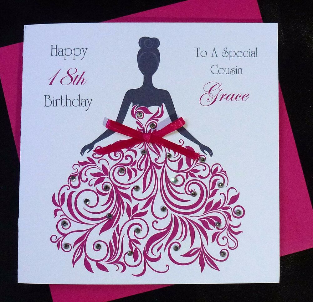 PERSONALISED Handmade BIRTHDAY Card Pink Dress 16th 18th