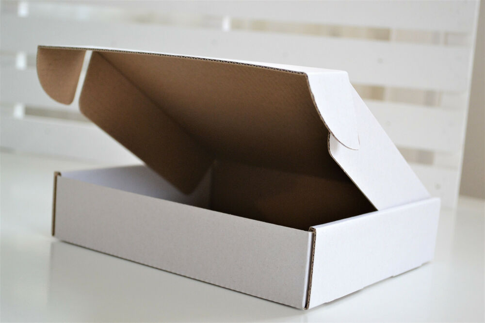 SMALL 125x95x16mm WHITE POSTAL CARDBOARD MAILING BOXES