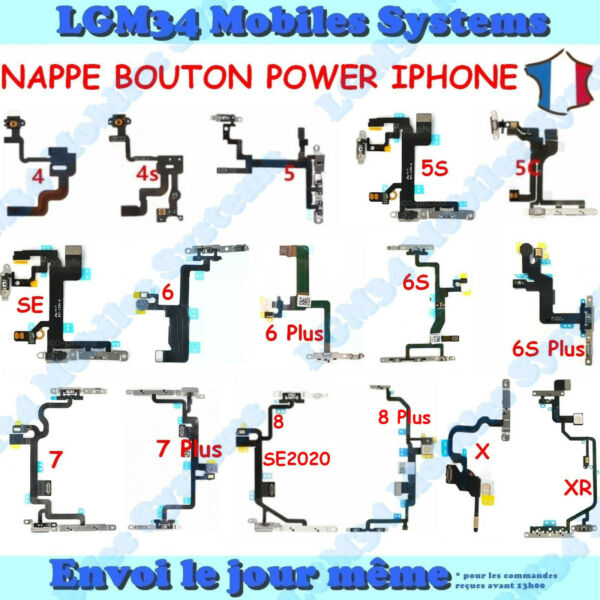 NAPPE CABLE CONNEXION BOUTON POWER ON/OFF IPHONE