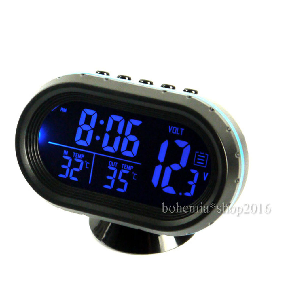 auto digital lcd innen au en thermometer 12 24v alarm uhr spannungstester de ebay. Black Bedroom Furniture Sets. Home Design Ideas