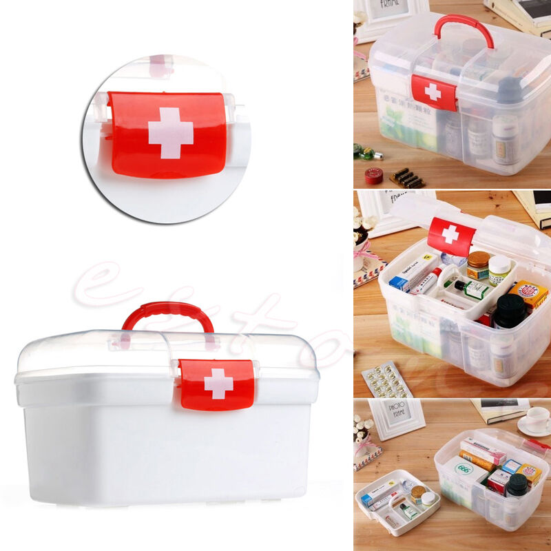 Double Layer Health Box Medicine Chest Handle First Aid