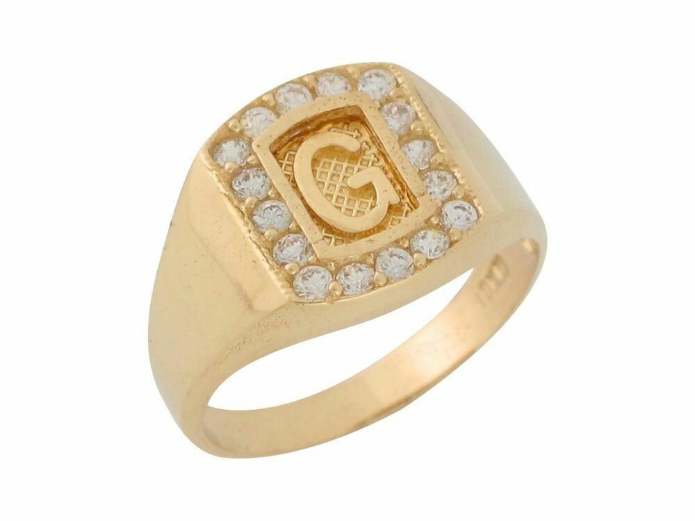 10k 14k yellow gold white cz block letter g initial mens for Gold ring models with letters