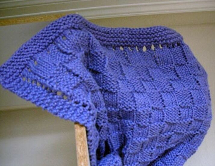 Quick Easy Baby Blanket Knitting Pattern : Cb5 - Knitting Pattern For Basket Weave Cotton Yarn Baby Blanket eBay