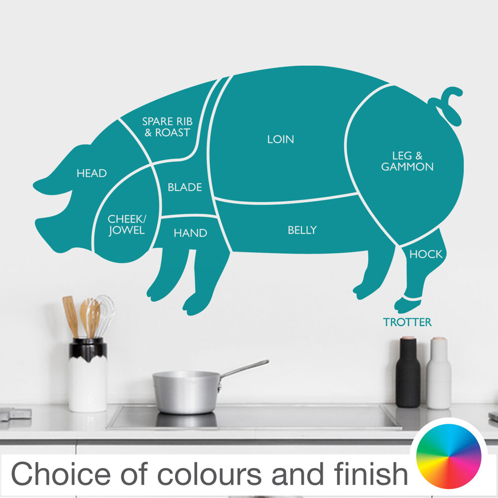 PORK PIG Cuts of Meat Diagram Wall Sticker Home Decor Kitchen | eBay