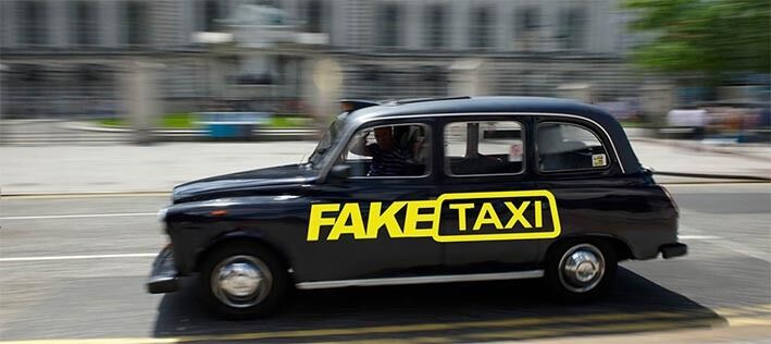 2 X Fake Taxi Sticker Car Surf Vinyl Decal Sticker Euro -8564