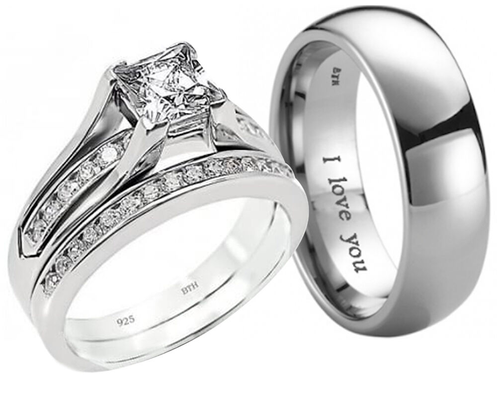 New His And Hers Anium 925 Sterling Silver Wedding Engagement Ring Band Set Ebay
