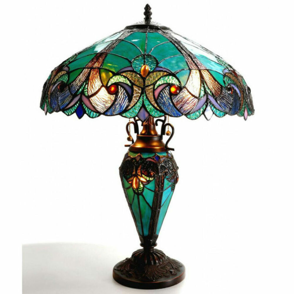 Table Lamp Tiffany Style Double Lit Green Amber Stained ...