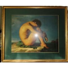 BEAUTIFUL LARGE VINTAGE FRAMED PRINT OF A YOUTH