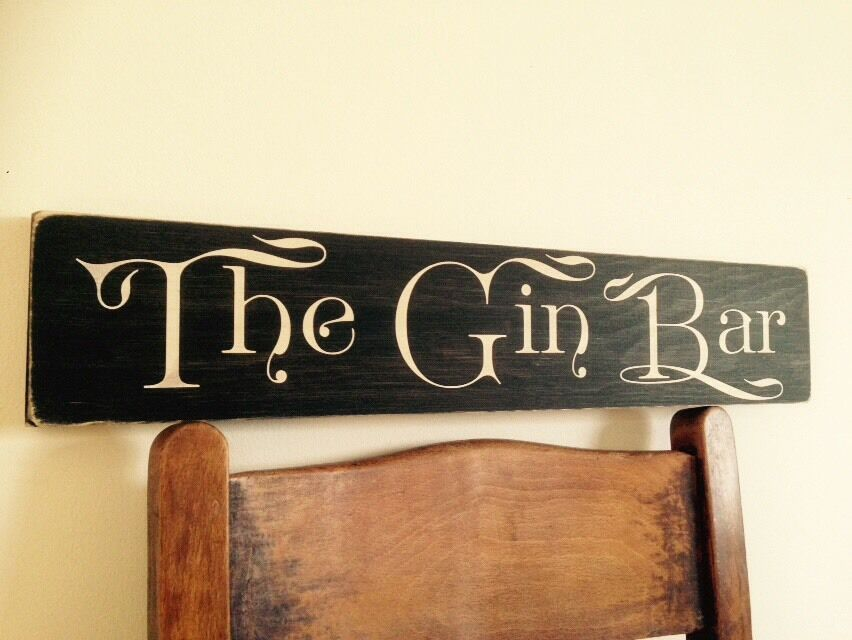 The Gin Bar Sign Gin And Tonic Bbq Party Gift Vintage Look Old Garden