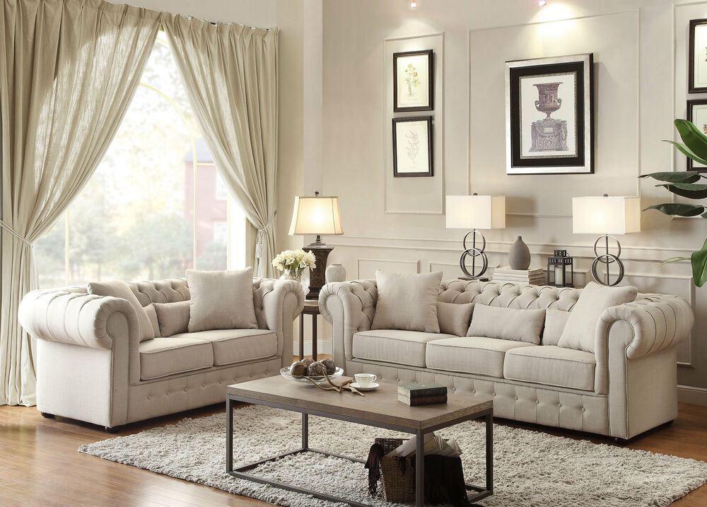 Irwin Traditional Beige Tufted Microfiber Sofa Couch Set