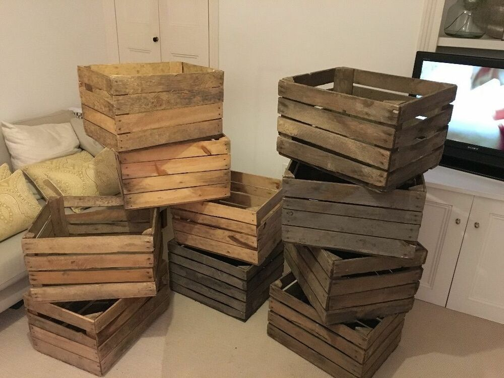Wooden apple crates ideal storage boxes display ebay for Apple crate furniture