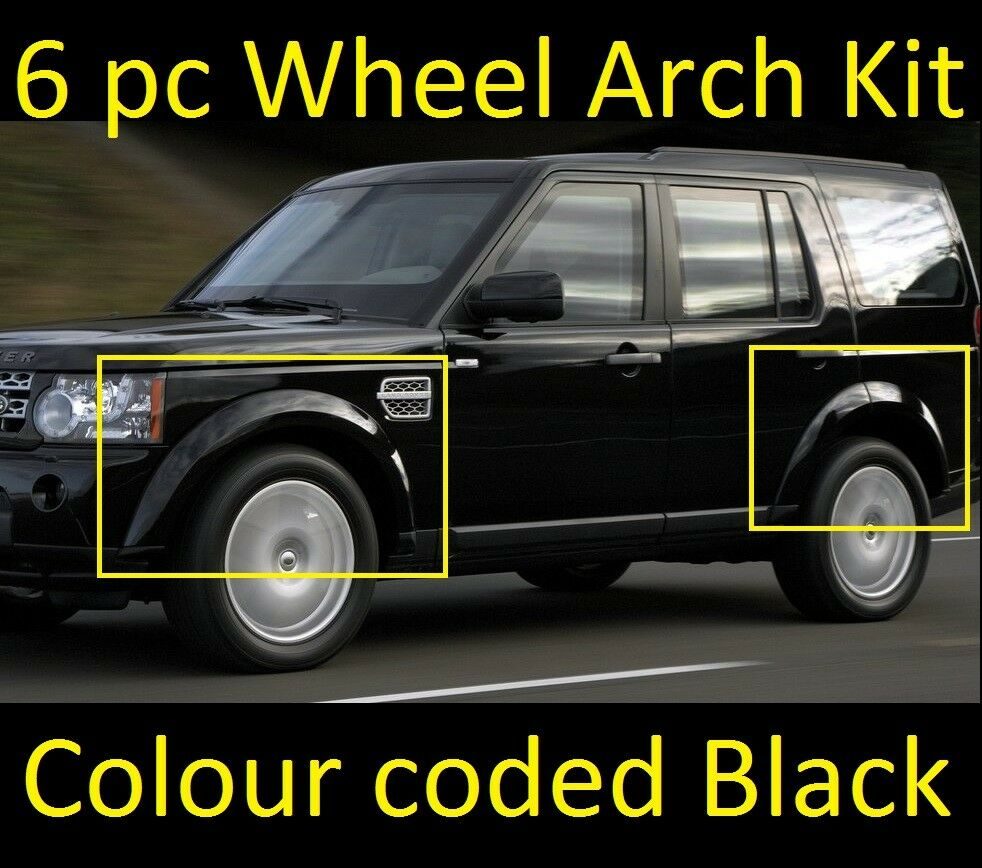 6pc Black Colour Coded Wheel Arch Kit Land Rover Discovery