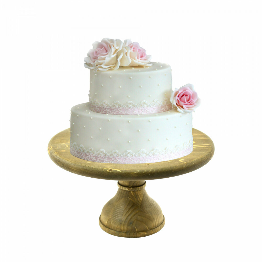 1 Tier Wedding Cake Stand Wooden Cupcake Fruit Holder