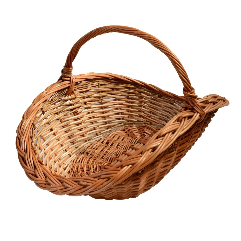large wicker basket with handle oval fruit hamper ebay. Black Bedroom Furniture Sets. Home Design Ideas
