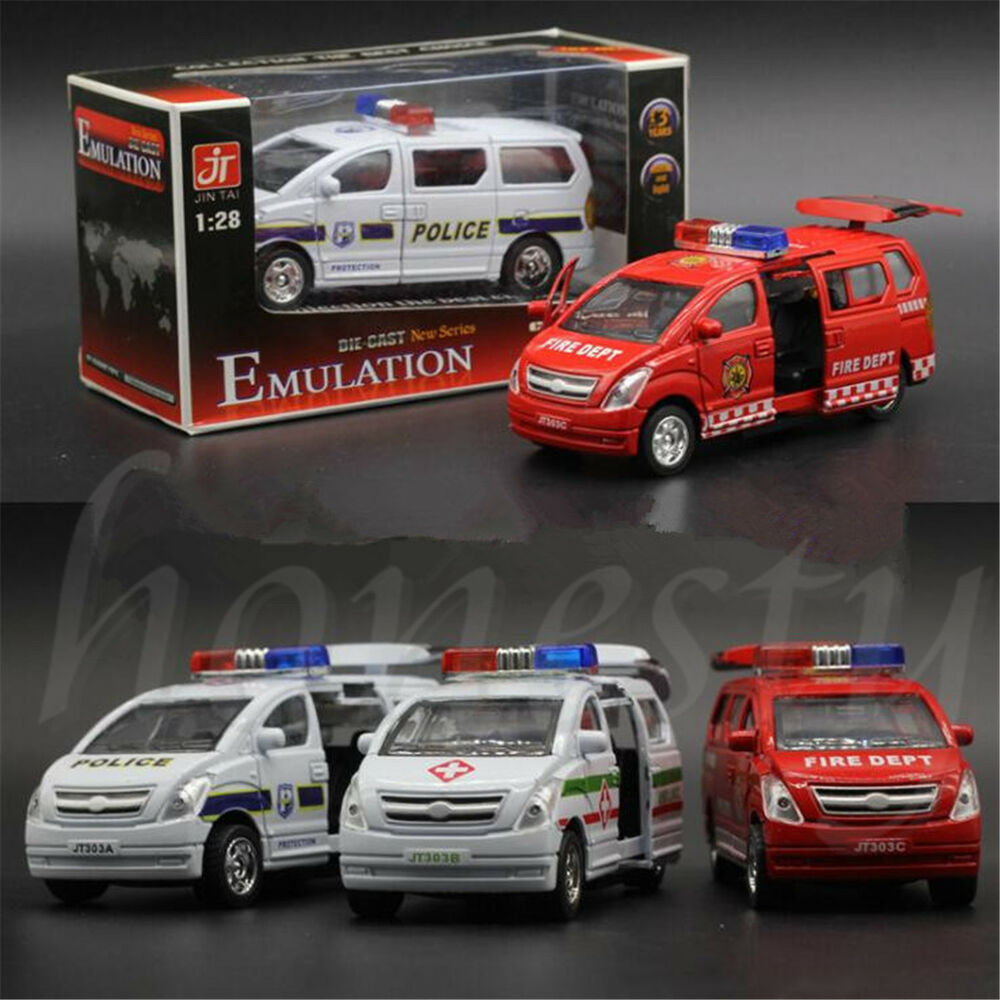 Toy Police Cars : Alloy toy cars pull back van model kids ambulance