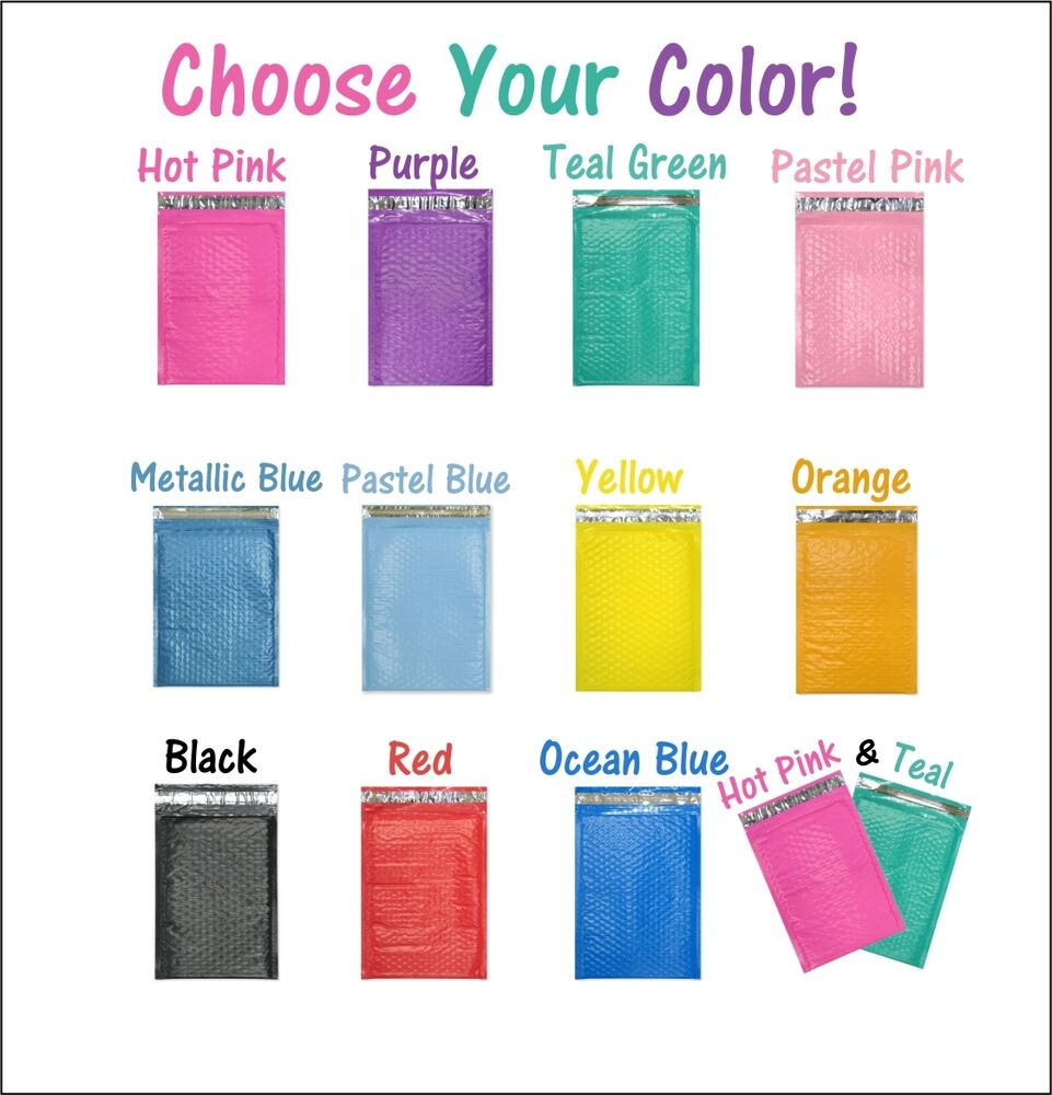 4x8 hot pink teal poly bubble mailers  colored padded