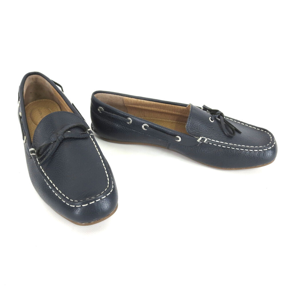 lands end shoes 10 d wide navy blue leather womens boat