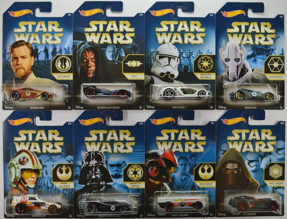 2015 hot wheels walmart star wars force awakens complete 8 car set factions ebay. Black Bedroom Furniture Sets. Home Design Ideas