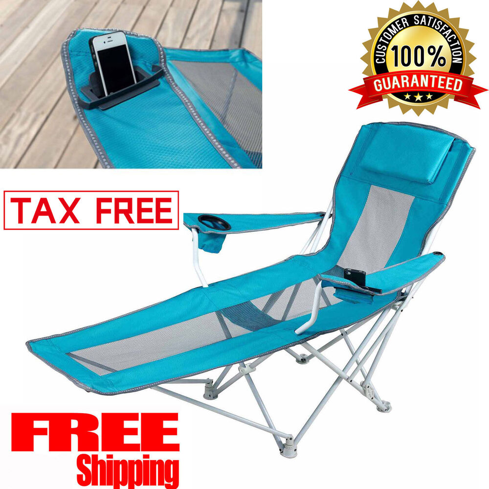 Reclining Folding Camping Chair With Footrest Stool Beach