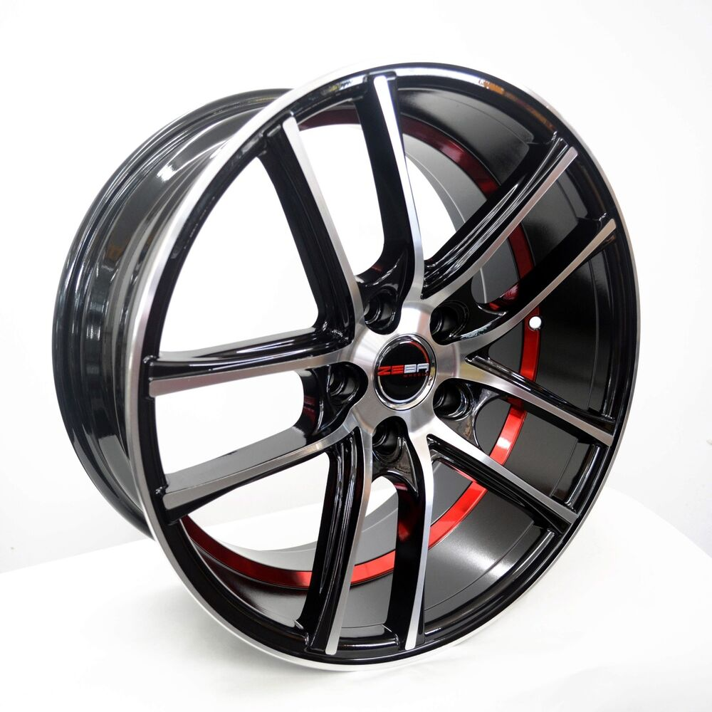4 GWG Wheels 18 Inch Black Red UnderCut Rims Fits 5x115