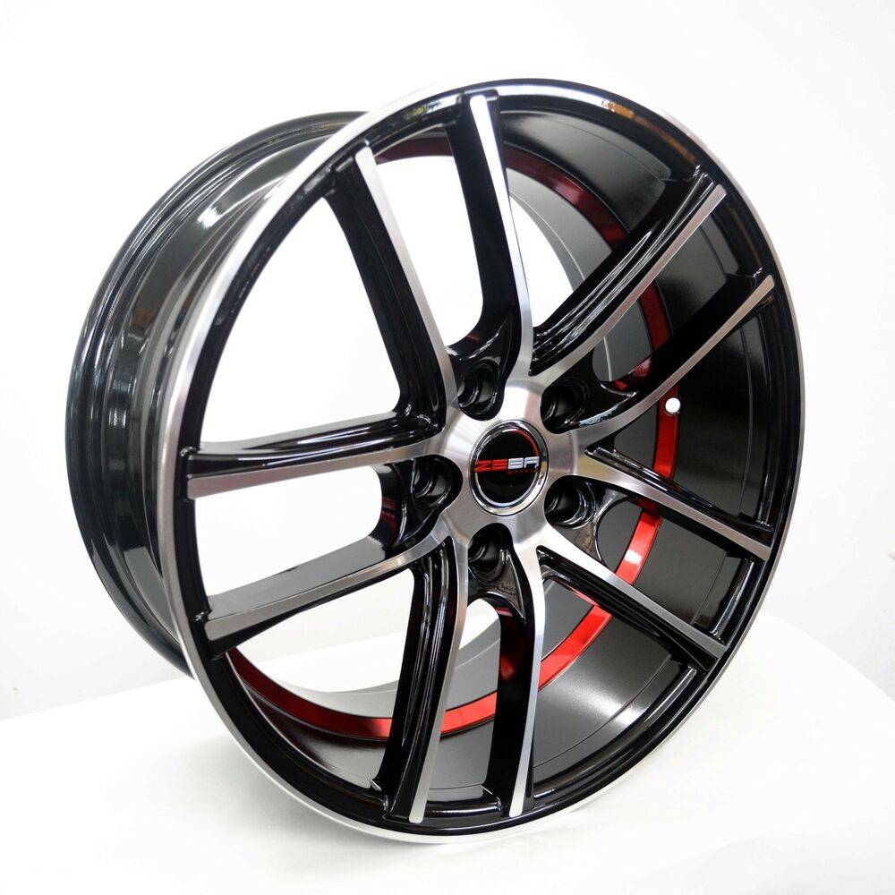 4 GWG Wheels 18 Inch Black Red UnderCut Rims Fits 5x114.3