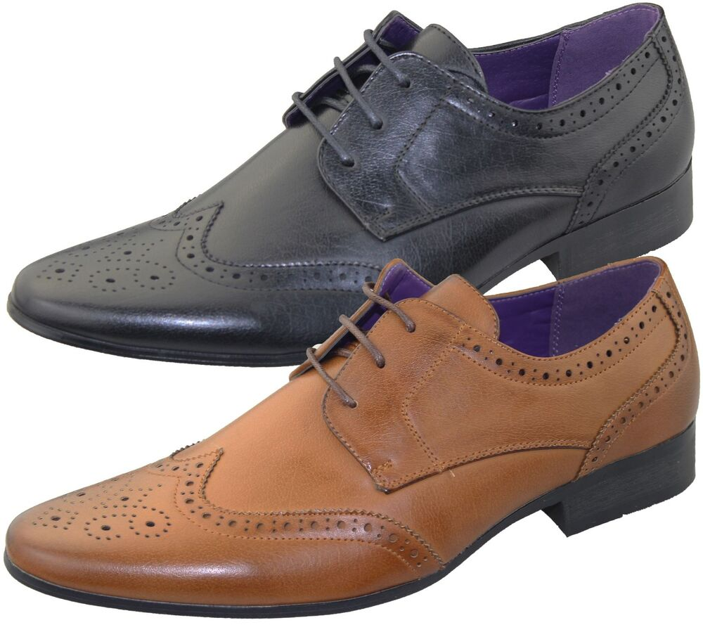 mens office brogues shoes wedding casual formal smart