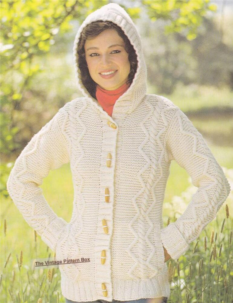 ARAN HOODED JACKET - COPY Ladies knitting pattern eBay
