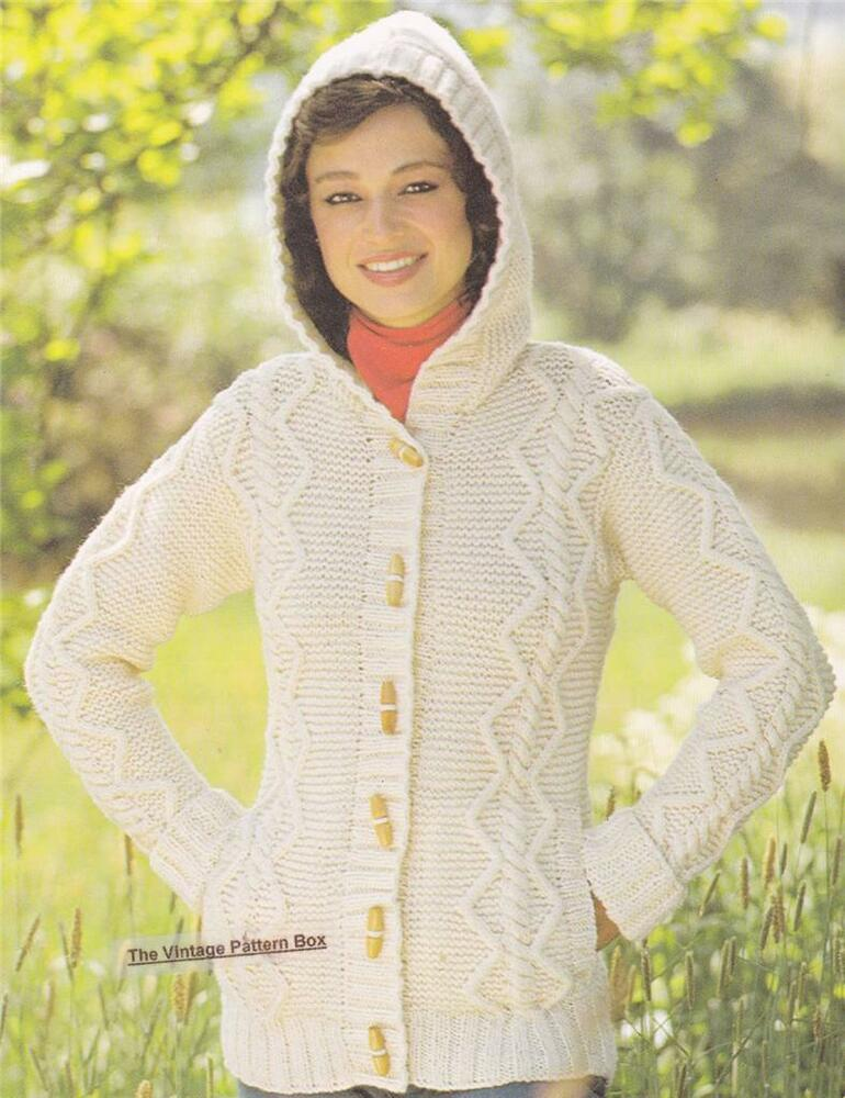 Knitting Pattern Hooded Jacket : ARAN HOODED JACKET - COPY Ladies knitting pattern eBay