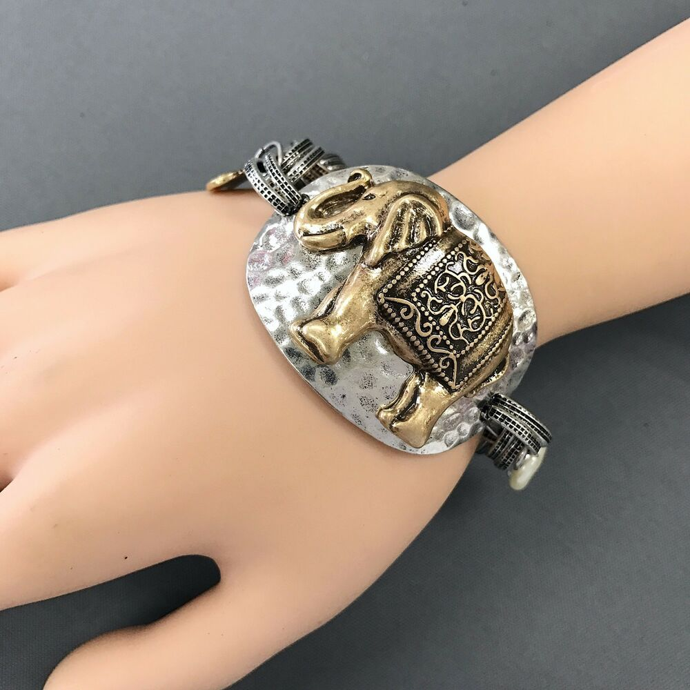Bangle Charm Bracelet Silver: Unique Bohemian Silver Gold Hammered Elephant Lucky Charm