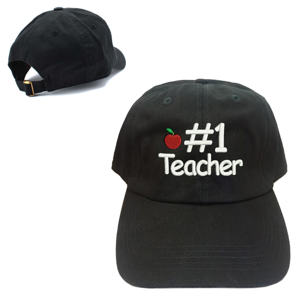 Details about  1 TEACHER APPLE LOGO 100% COTTON BASEBALL CAP WITH TEXT  EMBROIDERED 82aaae763ee