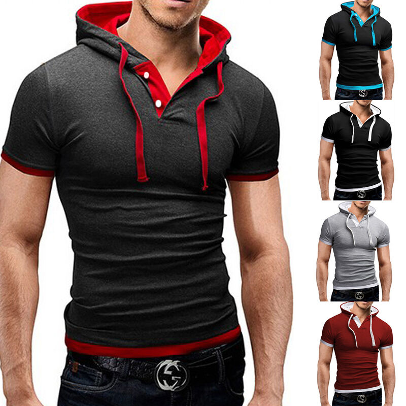 Men 39 s slim fit short sleeve shirts hooded tee muscle tops for Athletic fit dress shirts