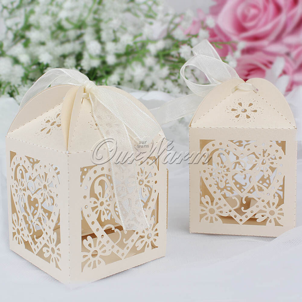 Wedding Gift Boxes Australia : ... Laser Cut Cute Candy Gift Boxes With Ribbon Wedding Party Favor eBay